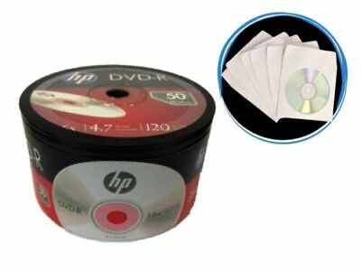 100 PCS HP 16X Logo Blank DVD-R Recordable Disc Media 4.7GB in Paper Sleeves