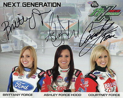 ASHLEY FORCE+SISTERS HAND SIGNED 8x10 COLOR PHOTO+COA      SIGNED BY ALL THREE