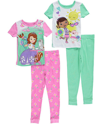Disney Little Girls Doc McStuffins n Princess Sofia 4-Piece Pajama Set 2T,3T,4T