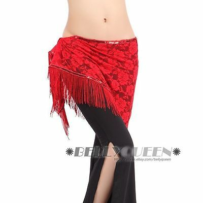 New Belly Dance Costume Hip Scarf Wrap Belt Skirt Lace Fringes Tassels 10colors