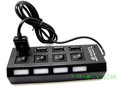 USB 2.0 High Speed 4 Port Power On/Off Switch LED Hub for PC Laptop Notebook FR*