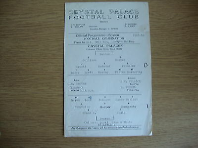 1957/8 Crystal Palace Reserves v Millwall Reserves - Football Combination