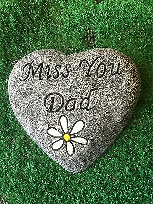 "Memorial Stone / Plaque / Heart/ Gravemarker ""miss You Dad"" Daisy"