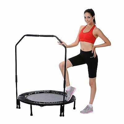 Mini Foldable Trampoline With Bar Urban Rebounder Bouncing Exercise Workout NEW
