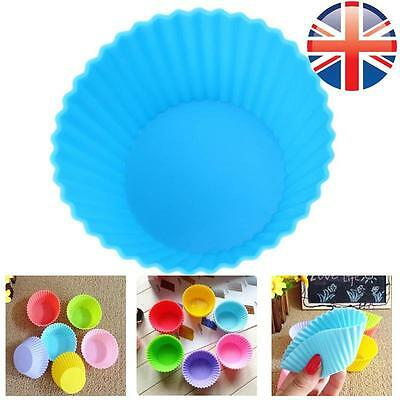 *UK Seller* Silicone Round Cup Cake Muffin Cupcake Cases Baking Cup