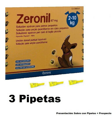 3 Pipetas Zeronil 67 mg perros 2-10 Kg anti pulgas y garrapatas Spot On pipeta