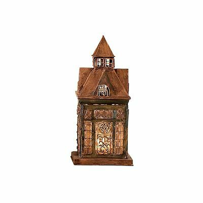 Glass and Metal Architectural Candle Lantern -Copper-Tone Patina Ellington House
