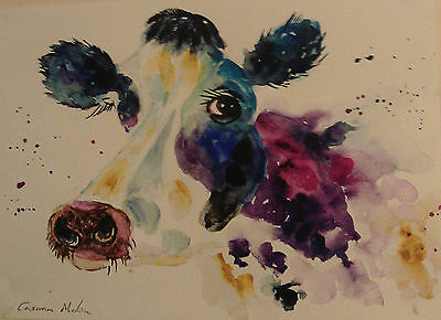 "Fridge Magnet ,Abstract Cow  large magnet 4.25"" by 5.5"""