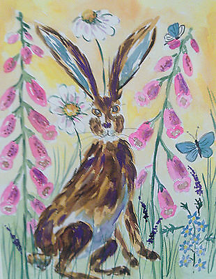 "Fridge Magnet, Hare among Foxglove  large Magnet  4.25"" by 5.5"""