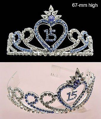 Quinceanera 15 Fifthteen Birthday Rhiestone Tiara Crown With Hair Combs - Blue