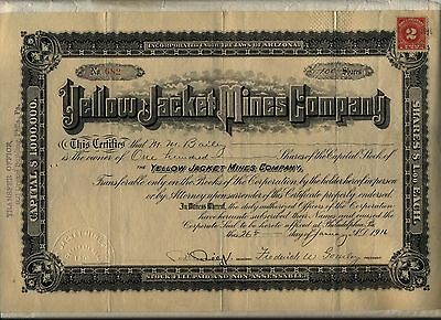 Yellow Jacket Mines Company Stock Certificate Arizona