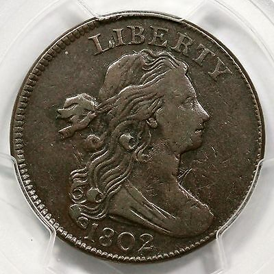 1802 S-240 PCGS VF 30 EDS Draped Bust Large Cent Coin 1c