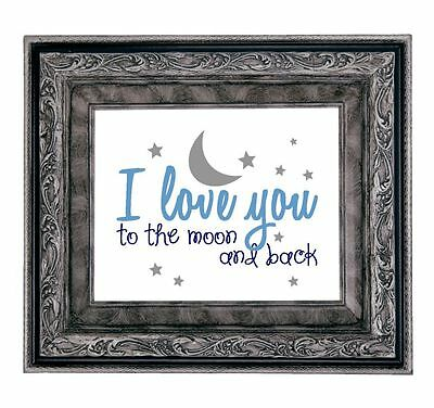 I LOVE YOU TO THE MOON AND BACK - Art Print Shower Gift New Baby Nursery Picture