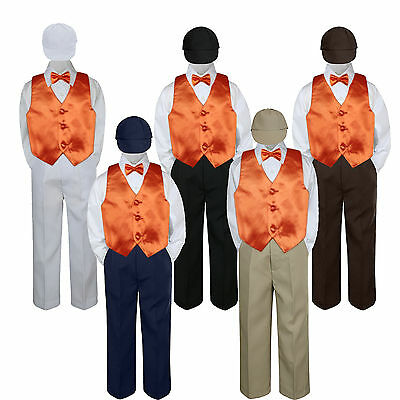 Boys Baby Toddler Kids Orange Tangerine Vest Bow Tie Formal Set Suit Hat S-7