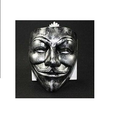 Anonymous Antique Silver Color Guy Fawkes Mask anon 4chan