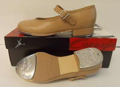 """Capezio Mary Jane 3800 Carmel Leather Tap Shoes Adult 8.5M Heel-Toe 9 3/4"""" NEW"""