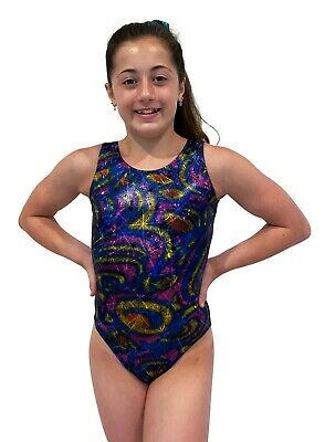 NEW RAINBOW SWIRLS & BLACK FOIL  AXS Sz12 56cm / AS Sz14 59cm Gymnastics Leotard