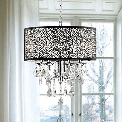 Contemporary Crystal Chandelier Drum Shade Pendant Light Ceiling Lamp Fixtures
