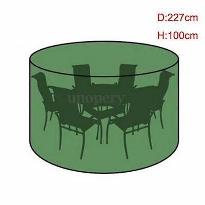 100cmx227cm Waterproof Outdoor Round Garden Furniture Cover Table Chair Shelter
