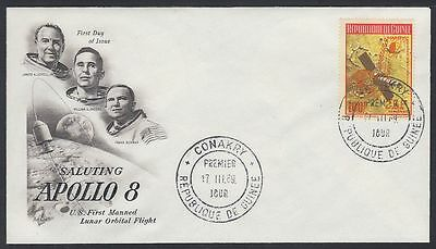 Guinea 1969 FDC Mi.unlisted 25F on 100F orange ovpt. (328A) Weltraum Space