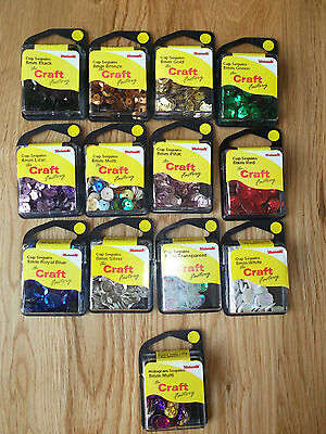 8mm ROUND CUP SEQUINS-5g per pack -CHOICE OF 13 COLOURS- CARDMAKING,SEWING,CRAFT