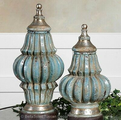 S/2 French Tuscan MEDITERRANEAN STYLE Old World Lidded Vases Urn