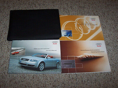 2004 Audi S4 Convertible Cabriolet Owner Manual User Guide Quattro 4.2L V8