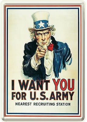 Nostalgic Art I want you for US Army Recruiting Station Uncle Sam Blechpostkarte