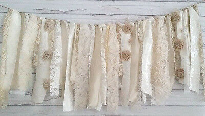 Oatmeal Shabby Chic Garland Rag Tie Banner