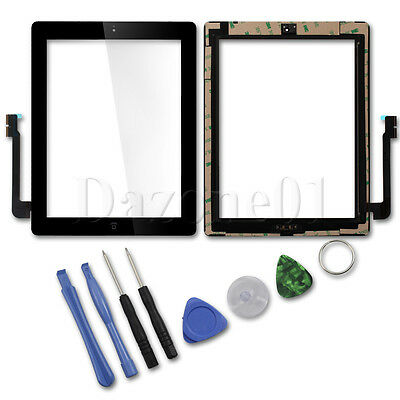 For iPad 3 Black Touch Screen Glass Lens Digitizer Replacement+ IC Chip+Home
