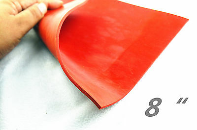 "8 ""x 8"" x 1/8"" Silicone Rubber Sheet High Temp Solid Red Commercial Grade"