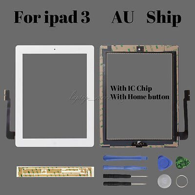Touch Screen Display Lens DIGITIZER with IC Chip + Tools For iPad 3 Replacement