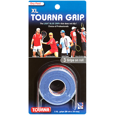 Tourna Grip Original 3 Pack Tennis Badminton XL Overgrip - Blue - Dry Feel