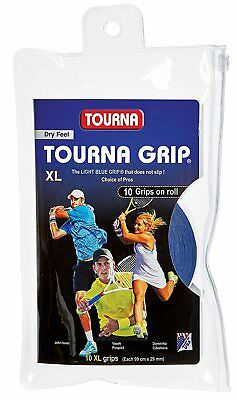 Tourna Grip Original 10 Pack Tennis Badminton XL Overgrip - Blue - Dry Feel
