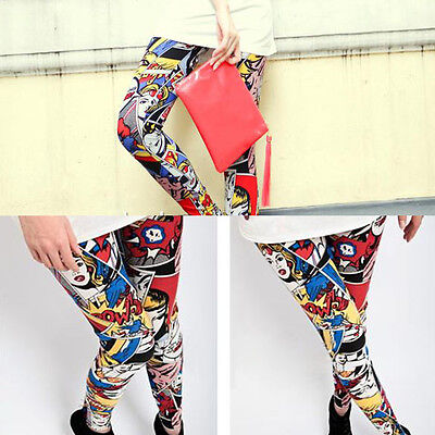 Stylish Milk Silk Letters Graffiti Elastic Legging Ninth Pants for Women