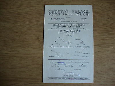 1956/7 Crystal Palace Reserves v Luton Town Reserves - Football Combination