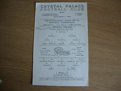 1955/6 Crystal Palace Reserves v Leicester City Reserves - Football Combination