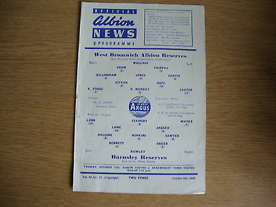 1960/1 West Bromwich Albion WBA Reserves v Barnsley Reserves - Central League