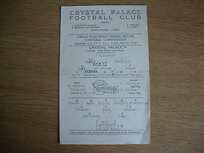 1955/6 Crystal Palace Reserves v Swindon Town Reserves - Football Combination