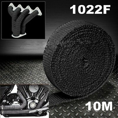 Exhaust Heat Wrap Black 10M X 50Mm Roll + 10 Stainless Ties Manifold Insulation