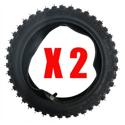 """2* 2.50-10"""" 2.5-10 """" 10""""Front Knobby Tyre Tire + Tube PIT Trail Dirt PW50 Bike"""
