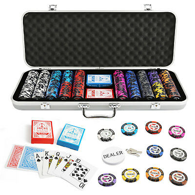 500 Chips Poker Game Set Silver Aluminium Case The Star 14g Chips Plastic Cards