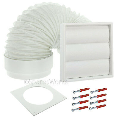 """Universal Tumble Dryer Venting Kit External Vent Wall Outlet 4"""" 100mm White"""