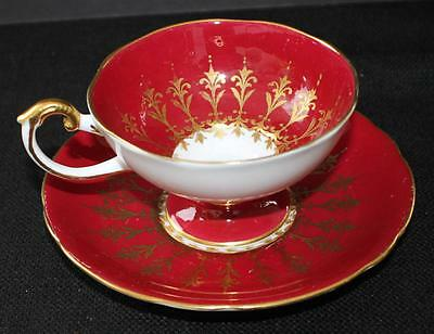 Vtg Signed AYNSLEY Bone China England Gold Bordo Pattern #1547 Footed Cup Saucer