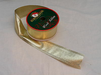 "Ksa Vintage Gold Dbl-Wired 2"" 54Ft Mylar Ribbon Garland"