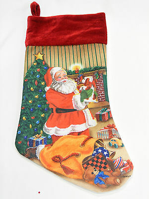 Santa Claus In A Home W/ Toys Holding A Puppy Felt Christmas Stocking