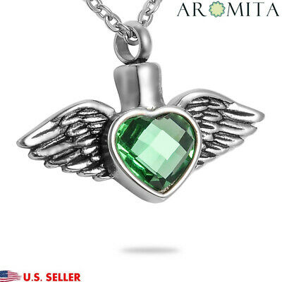 VALYRIA Emerald Heart & Wings Cremation Jewelry Keepsake Memorial Urn Necklace