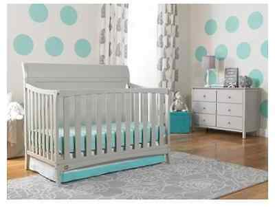 Crib 4-in-1 Fixed-Side Convertible with Bonus Mattress Baby Set Toddler Nursery