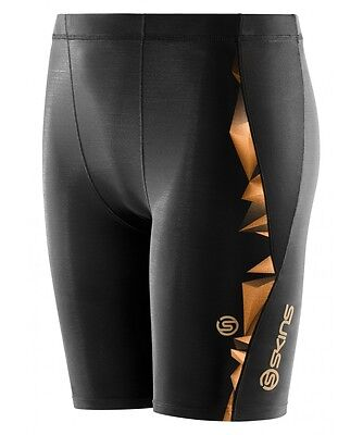 Skins A400 Youth Compression Half Tights (Black/Gold)