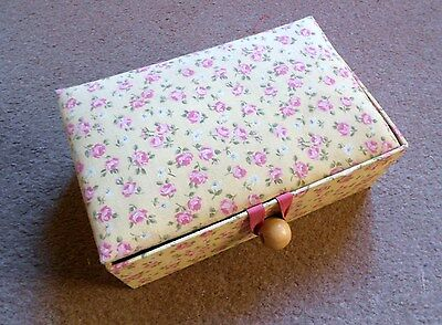 Vintage french linen Sewing Box w/  ROSES + label MCM
